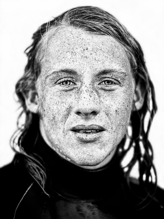 FRECKLED SURFER. Surf Portrait, Male Portrait, Black and White Print, Monochrome print, Photographic Print.