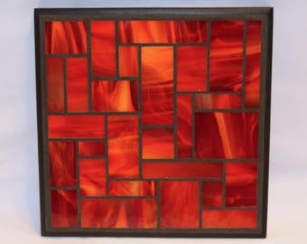 Red and Orange Stained Glass Mosaic Trivet
