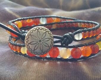 Agate & Carnelian Wrap Bracelet