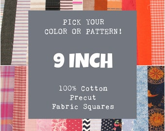 9 Inch Precut Fabric Squares, 100% Cotton, Pick Your Color or Pattern, 10 Quilt Squares