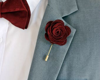 Leather burgundy rose flower pin, burgundy groomsmens boutonniere,maroon boutonniere, bordoux burgundy,maroon lapel pin mens lapel flower,