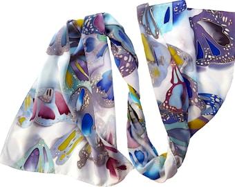 Hand painted silk scarf - Butterflies in Daylight. White painted batik scarf silk, hand painted scarf. Lightweight silk scarves. Hand-rolled
