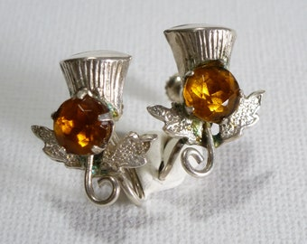 Silver Scottish Thistle Screwback Earrings with Citrine Glass Paste Accent - Vintage Ward Brothers WBs Jewellery