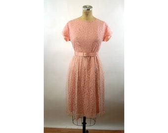 1950s lace dress pink dress with belt VOLUP Size L XL cap sleeve