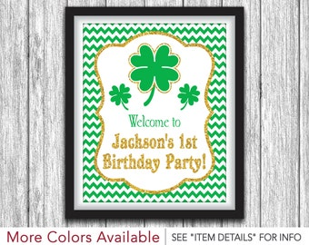 "St. Patrick's Day Birthday Party Sign | Printable St. Patty's Day Decorations | 8""x10"" Welcome Sign 