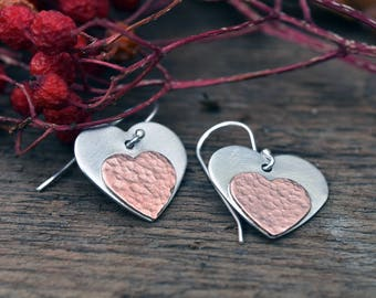 Heart earrings - Valentines day gift - Two tone earrings - silver and copper earrings - textured earrings - gift for women  -