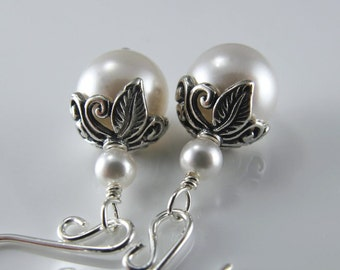 Botanical Pearl Romance Earrings - White Swarovski Crystal Pearls, Sterling Silver