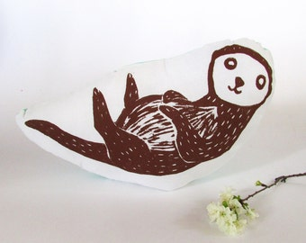 Hand Printed Otter Throw Pillow. Woodblock Printed. Made to Order. Choose ANY color.
