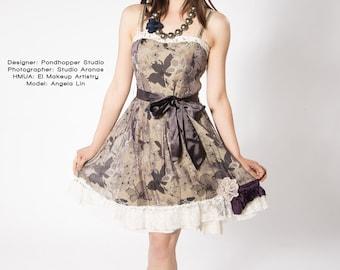 upcycled dress XS - S upcycled clothing, upcycled fashion, tea dress . skylark