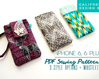 iPhone 6 Case Sewing Pattern, iPhone 6 Plus Case PDF Sewing Pattern, DIY iPhone 6 Pouch eBook Tutorial