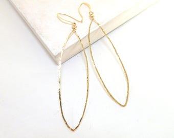 14K Gold Fill Dangle Hoop Earrings, Long Earrings, Wire Earrings, Large Oval Earrings, Minimalist Jewelry, Gold Earrings, By Durango Rose