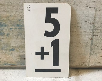 Vintage Flashcard Addition Gallery Wall MultiMedia Nursery Playroom-- 5+1 and 7+4