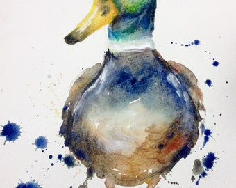 Mallard duck watercolour PRINT -duck gift - Country Kitchen original painting - Puddle Paints art