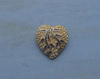 Vintage Rhinestone Heart Brooch Pin Signed Hedy