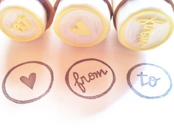 rubber stamps for gift wrapping | to from love heart | snail mail stamp for packaging shipping mailing | hand carved stamp by talktothesun