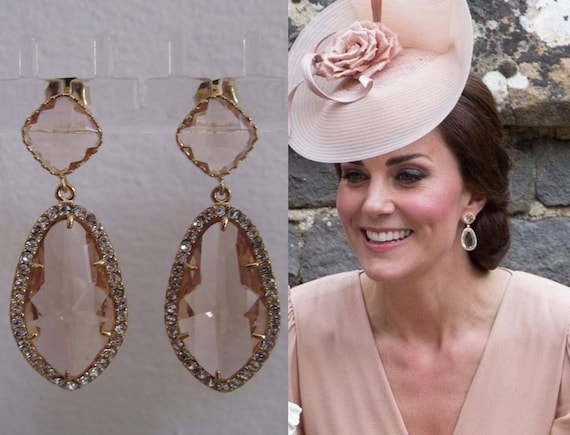 Kate Middleton Duchess Of Cambridge Inspired Replikate Chandelier Pear Drop Peach Morganite Halo Crystal Earrings by Etsy