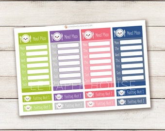 Meal Planning Stickers, matte or glossy planner stickers, life planner stickers, erin condren filofax, mambi happy planner