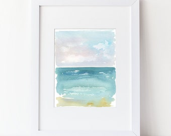 Beach Art - Nautical Watercolor Painting - Art Print - Modern Watercolor - Simple Watercolor Art Zen