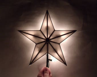 White Stained Glass Five Point Star Christmas Tree Topper with Light Clips
