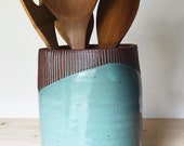 Ceramic Utensil Holder (Made to Order) - Kitchen Storage - Modern Minimal Simple Pottery by Osa