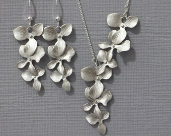 Orchid Necklace and Earring Set, Bridesmaid Jewelry Set, Wedding Jewelry Set, Orchid Jewelry, Wedding Jewelry, Mother of the Bride Gift