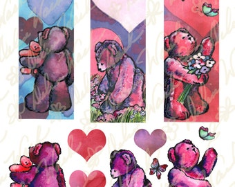 Valentine's Day Bookmarks & Backgrounds - Digital Collage Sheet - Instant Download - Printable - Great for Crafting - Hearts, Teddy Bears