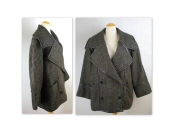 Vintage des années 80 Charles Jourdan Coat Tweed XL Avant Garde col