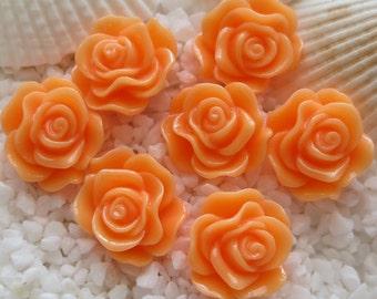 Resin Rose Flower Cabochon - 12mm - 30 pcs - Peach