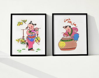 Set of 2 wall art, Chinese art, Original watercolor, Wall art handmade