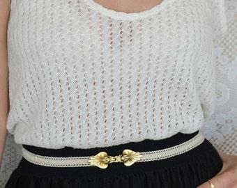 Ivory belt - Bridal Belt - Gold belt - Wedding Belt - Bridesmaids Belt - wedding dress Belt - Gold buckle - elastic lace belt - waist Belt