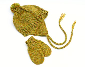 Baby Earflap Hat and Mitten Set. 3 to 9 Months. Gender Neutral. Warm Wool Blend. Yellow Tweed Aviator Hat. Knit Tweed Cap. Thumbless Mitts
