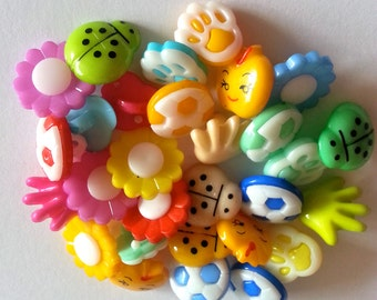 10,20 or 40 Rainbow colored buttons, mixed shapes buttons, Random colors and shape,shank button, Sewing, craft,buttons, colorful buttons