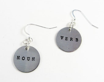 Grammar Jewelry (Noun and Verb Earrings in Sterling Silver) for English Teacher or Writer Gift