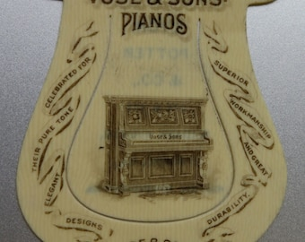 Original 1880's Vose & Sons Piano Company Celluloid Book Mark - Free Shipping
