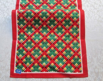 Vintage Towel Kitchen Tea Linens Retro Geometric Red Green Gold Table Runner Mid Century Dish Towel Bucilla Tag Vintage Linens