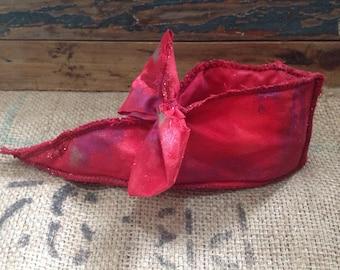 Textile art shoe decoration, Ruby Red slipper, Dorothy, Wizard of Oz, textile art, folk art, textile art, textile sculpture, prop,