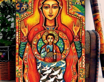 Our Lady of the Sign, Religious painting, Mary and Jesus, Mother and child, home decor wall decor woman art, ACEO wood block, CG