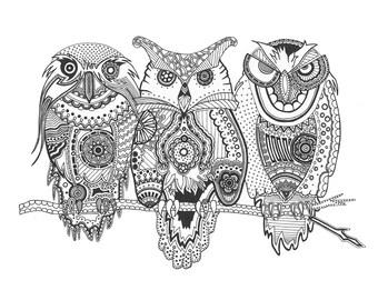3 wise owls - Giclée print