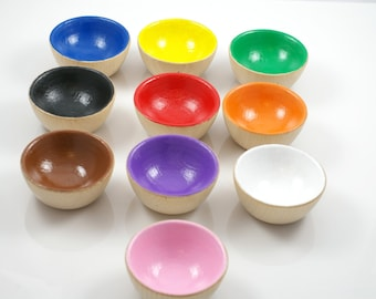 Rainbow bowls, wooden color sorting bowls, stacking toy, preschool learning toy, Montessori material, Waldorf toy, Montessori toddler