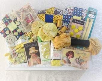 Vintage Inspiration Kit Yellow Sewing Supplies Haberdashery Lot Embellishment Kit Altered Art Scrapbooking Fabric Collage Crafts