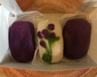 Alpaca and merino wool felted mavensar soaps