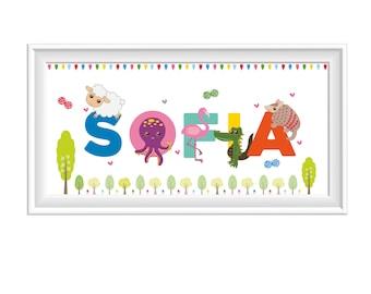 Children's Name Illustration Print