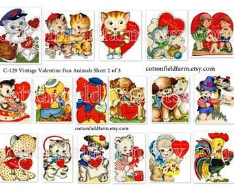 Vintage Valentine Fun Animals Digital Collage Set of 3 Sheets C-129 for Scrapbooking, Tags, Cards, Journaling Spots