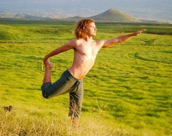 Men's Yoga Short Pants - Long Shorts - Organic Cotton Hemp - Eco Friendly - Organic Clothing