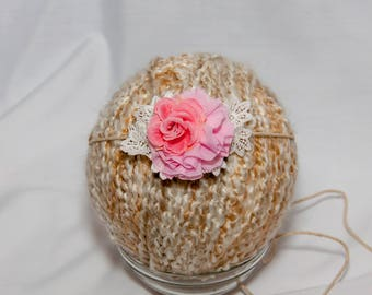 Headband photography baby infant prop pink flower and lace