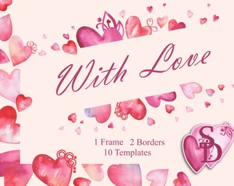 Heart clipart Watercolor PNG Photo frame Valentine's Day design Pink love Printable flower template Handpainted digital pattern Wedding DIY