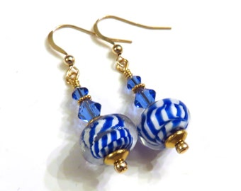 Blue & White Lampwork Earrings With Blue Swarovski Crystals, Blue Earrings, White Earrings, Lampwork Earrings, Crystal Earrings