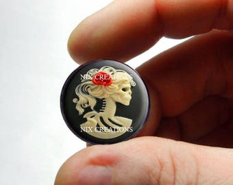 Glass Cabochon - Glass Skeleton Cameo - for Jewelry and Pendant Making