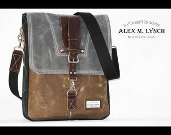 Large Waxed Canvas Messenger bag - vertical bag - TREE COLOR BAG - 010034.2