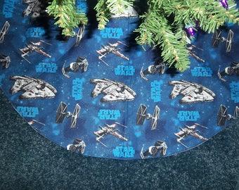 "Star Wars Christmas Tree Skirt- Handmade 35"""